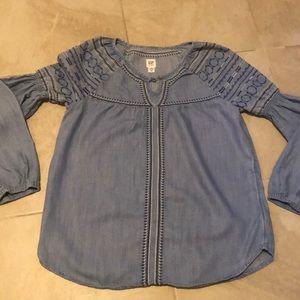 Gap girls XL l/s denim cotton embroidered top